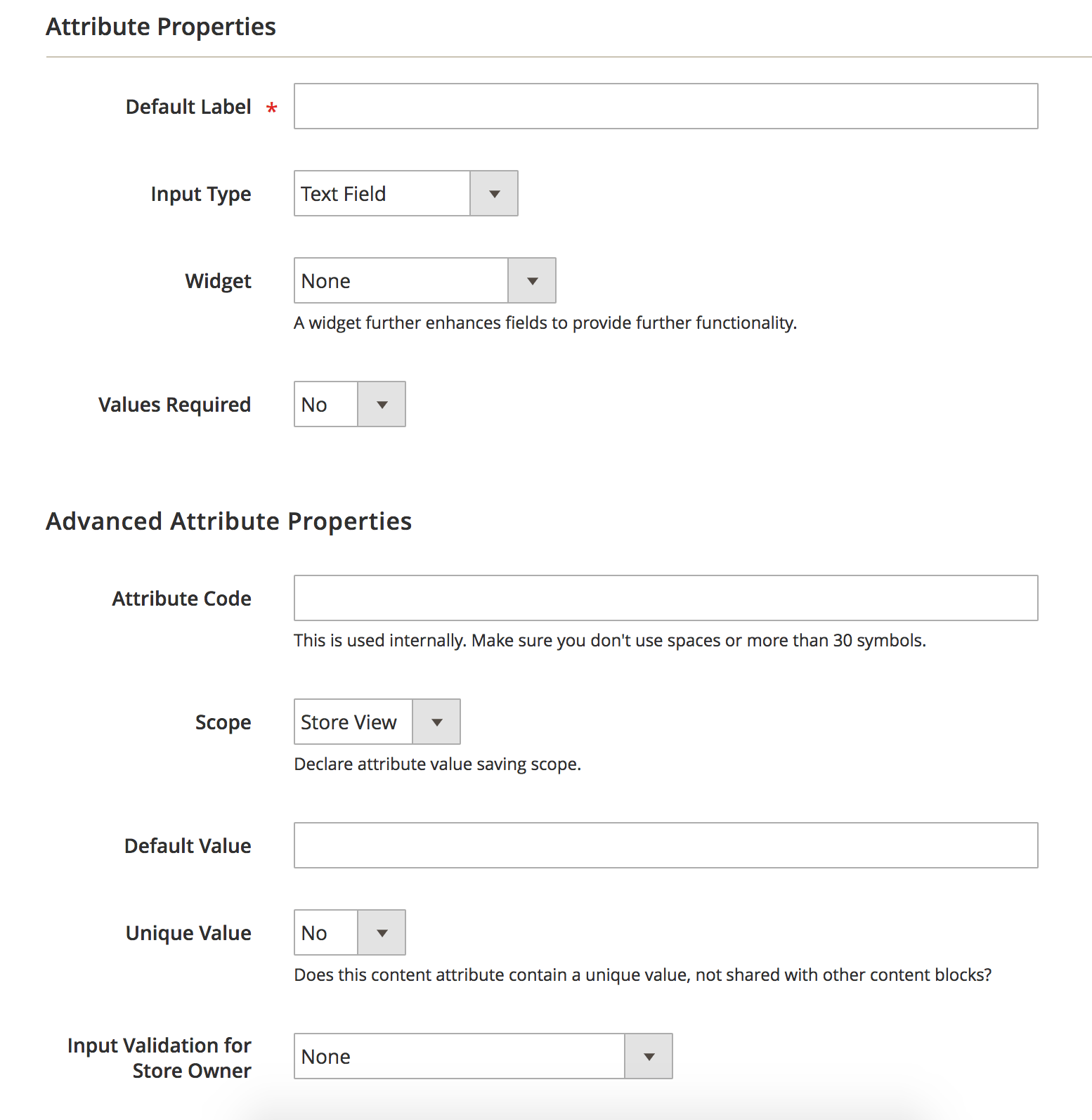 Create Attribute BlueFoot Admin