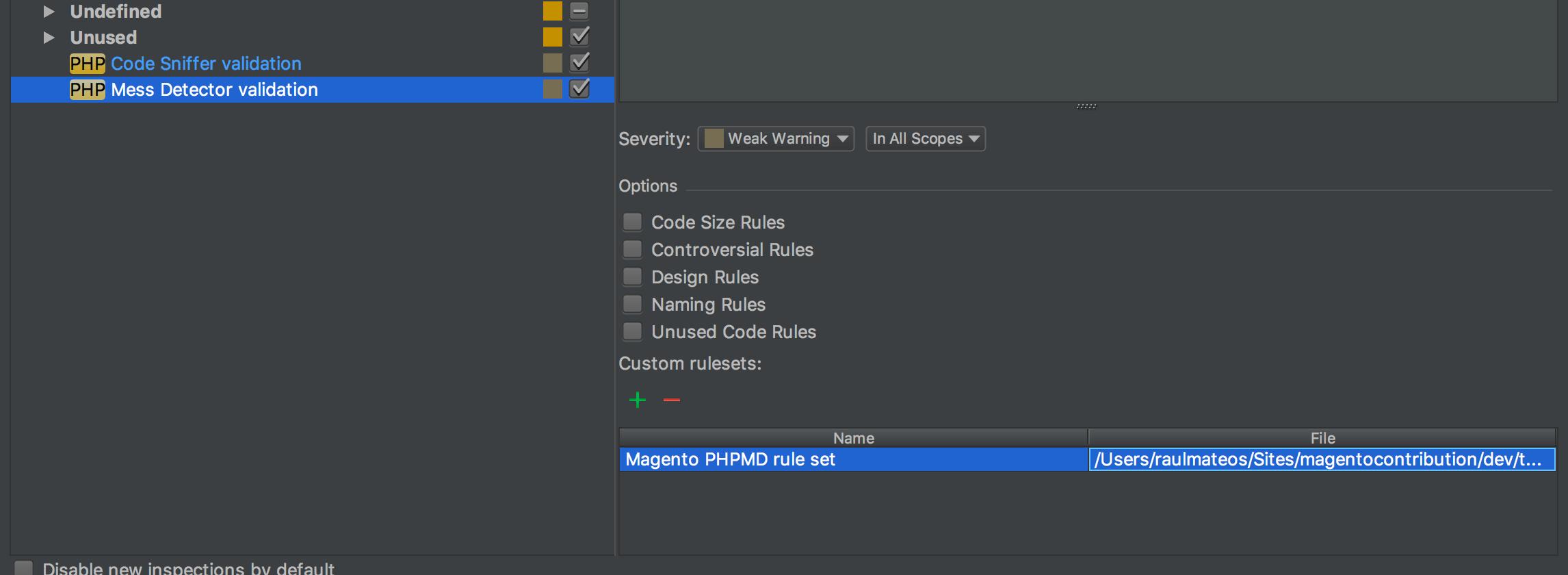 PHPMD PhpStorm